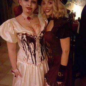 Myself and my sister, who won the prize for the best costume that night.
