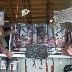 Asylum/Mad Dr theme in Garage for Party