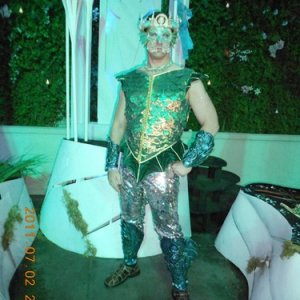 The first version of my Merprince costume had fish scale legs to walk on land. A year or 2 later came the walk around fishtail version.