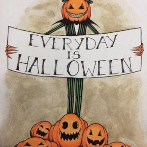 Everyday is Halloween, 2016  watercolours & micron ink 9 X12