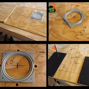 Optional Lazy Susan instructions:  Picture 1: Get your top and bottom platforms and Lazy Susan ready on your workbench.  Picture 2: Place the Lazy Sus