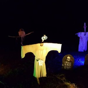 "Cemetery showing our version of ""Silent / Quiet People"" aka scarecrows"