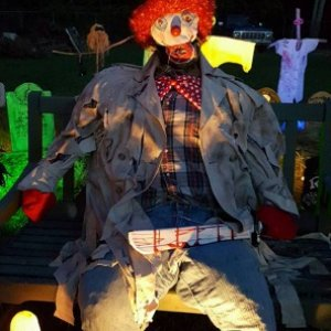 Decided we needed a clown this year. So took our scarecrow prop head, Jack, and put a mask on him! Viola, a clown!