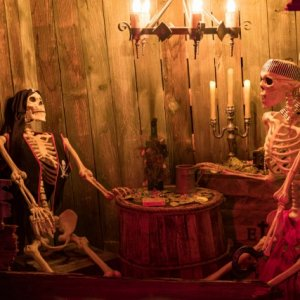 Classic Pirate Skeletons playing poker.  We had the light above fading in and out.