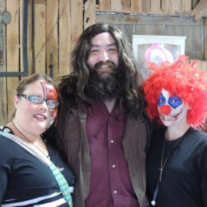 Me (the clown) Hagrid and my friend whom I did the gore zipper face on