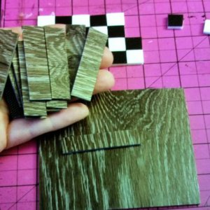 For the hard wood floors I just got some free samples of flooring from Lowe's and cut them into plank size.