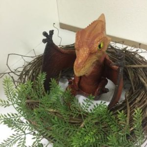Baby Mattel Terrordactyl in Nest.  Used two 14 inch twig wreaths stacked together and some greenery from Michaels to make a nest for this guy. Had hop