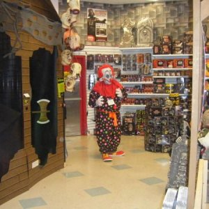 "Andy in Spirit Halloween during our promo night.  He dressed in full costume with a note on his chest that read "" Storefront Klown, 10,000.00 &qu"