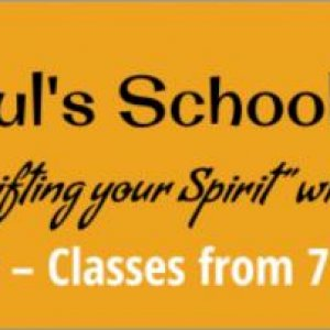 "All Soul's School of Dance. Banner that will advertise the ""dance"" classes happening upstairs in our 2nd floor bedrooms. Would have liked da"