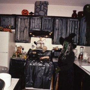 Our witch's kitchen before the party.  I hadn't put the refrigerator cover on yet.
