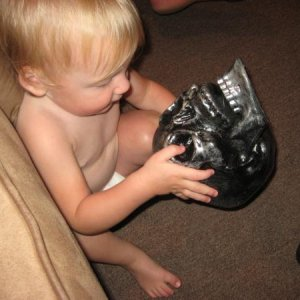 Playing with a skull...