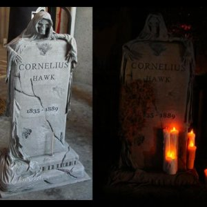 Use dowels to hold candles on tombstones.