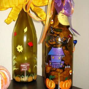 Handpainted Fall inspired bottles with lights