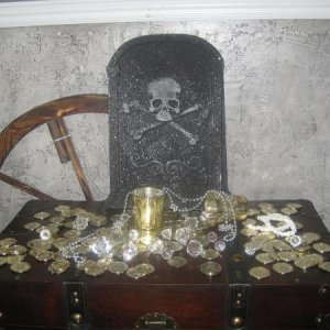 The treasure is gathered! (or started at least) - The wagon wheel in the back will be converted into a ship's helm!