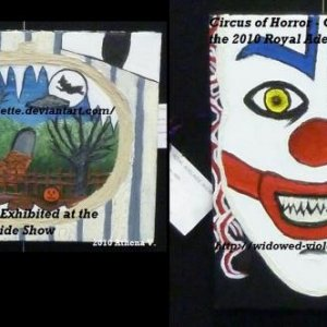 These were my entries for the 2010 Royal Adelaide Show. They are acrylic paintings on stretched canvas. I'm going to incorporate them into my Hallowee