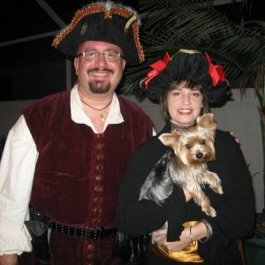 Full dress for the Don Maitz calendar release party, which we jokingly referred to as the Pirate Prom. We were short on parrots, so we substituted a Y
