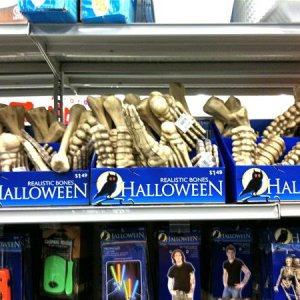 RITE AID, 2010. Very light foam like bone parts. $1.49 each. I kind of liked the spine bone to use for skeleton prop builds.