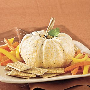 White Pumpkin Cheese Ball  Ingredients 2  (10-oz.) blocks extra-sharp white Cheddar cheese, shredded* 1  8-oz.) package cream cheese, softened 2  (4-o