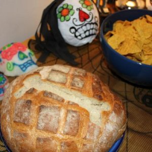 Pan de Muertos - the bread of the dead, plus nacho chips to go with the homemade chilli.