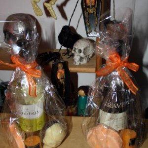 Best Male and Best Female costume prizes: Bottle of wine, scented candle, homemade Belgian chocolate skulls and a Lush 'Jack' bath bomb