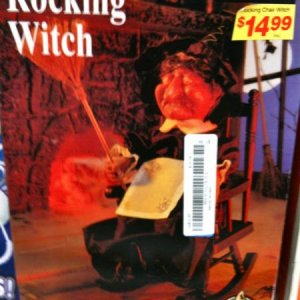 GOODWILL, 2010. This was a Gemmy product. 16-inch animated Rocking witch, she laughs and has light up eyes. 7.99.