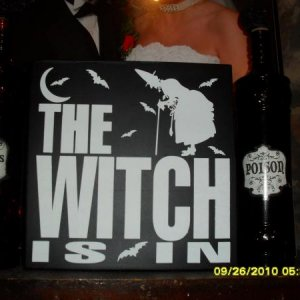 Various things I bought from Marshall's. Two winr bottles and a witch sign