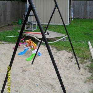 This is a pic of our swimg set that will go in the Zombie Playground. This is just the frame. We still habe to put swings on it.