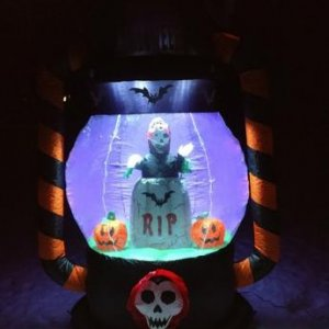 BZB Goods 6FT Halloween Lighted Inflatable Lantern with Grim Reaper, Tombstone, and pumpkins.