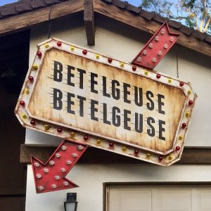 Beetlejuice light up sign, in daylight