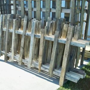 Some of the fence panels I made from recovered palette boards and 2x3's ... I think there were 12 8' panels in all?