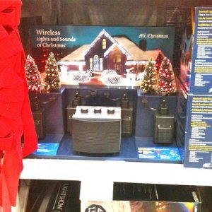 LOWE'S, 2010. The Mr. Christmas Wireless Lights and Sounds of Christmas. $88. This year the product also has 4 halloween songs. I tried the preview of