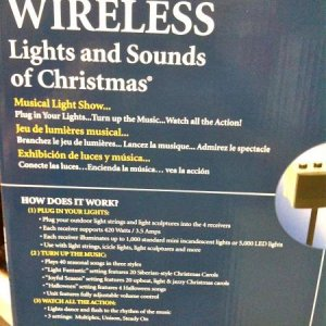 LOWE'S, 2010. Side package of Mr. Christmas' Wireless Lights and Sounds of Christmas package.