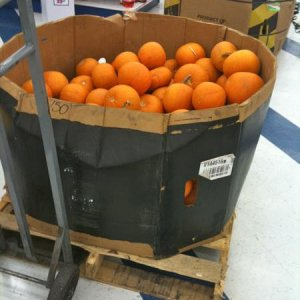 99¢ ONLY STORES, 2010. Cardboard corral of small pumpkins.