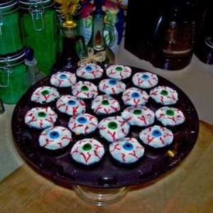 Bloodshot Eyeballs ~  Iced and decorated brownie bites.