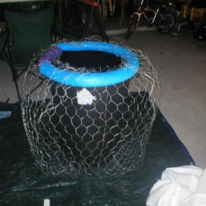 I used a standard trash can, chicken wire and mm. I used a swimming noodle to give me a certain shape on the top.