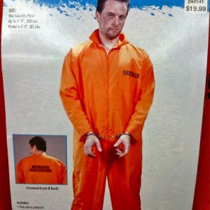 CVS, 2010. Adults prison uniform. Very nice quality with silk screening on front and back. Also comes with a decent looking pair of handcuffs. Reg. 19