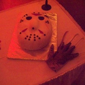 Jason cake...filled with red velvet and raspberry so it bled when it was cut in to...he he he