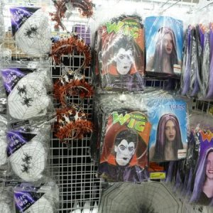 Halloween at Cheap as Chips (a discount store, Australia). Wigs, webbing and Halloween tiaras!