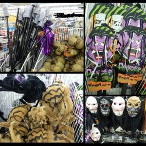 Gargoyle light up staffs, yard signs, huge spiders and costume masks at Cheap as Chips.