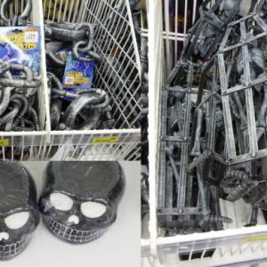 Handcuffs, chains, skeletons and skull candles at Cheap as Chips.