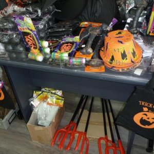 More costume accessories, trick or treat bags, party accessories and other decorations at the local Post Office/Newsagency.