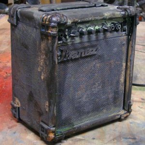 Black amp used in the haunt.