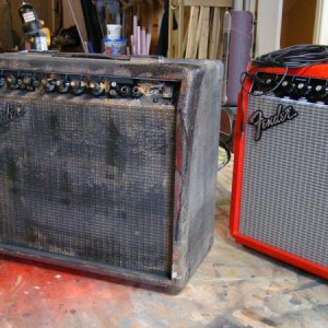 Comparison of what the original amp looked like. It was red...
