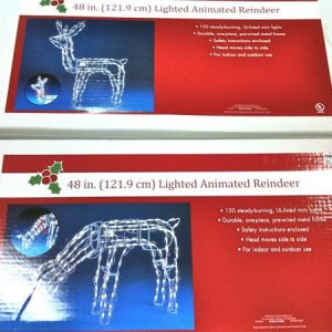 BIG LOTS!, 2010. Wire forms and motors with cam arms for Reindeer/Wolf projects. They have 2 variations of their animated 48-inch reindeer. $19 each.