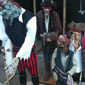 Some of the pirates.  I made all of them with the exception of the one holding the treasure.