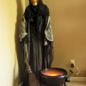 "My witch and her cauldron.  Trying to decide if I have time to make a ""fire"".  Hmmmm..."