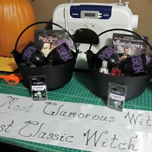 Sashes and prizes for Most Glamorous Witch and Most Classic Witch.