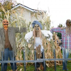 Scarecrows.  I love them, but I will be adding more corn stalks.  I will be making a little cornstalk area in the garage walkthrough and have someone