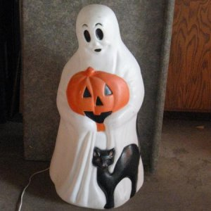 "Halloween blow mold 36"" tall ghost--was bought about 26 years ago so I guess that counts as vintage [when did the 70's and 80' become vintage!/!]"