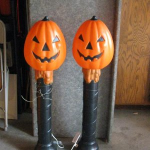 "Halloween blow mold 41"" tall JoL pillars. These look like they were put together from a JoL and a  Xmas candle using alternative coloring because"